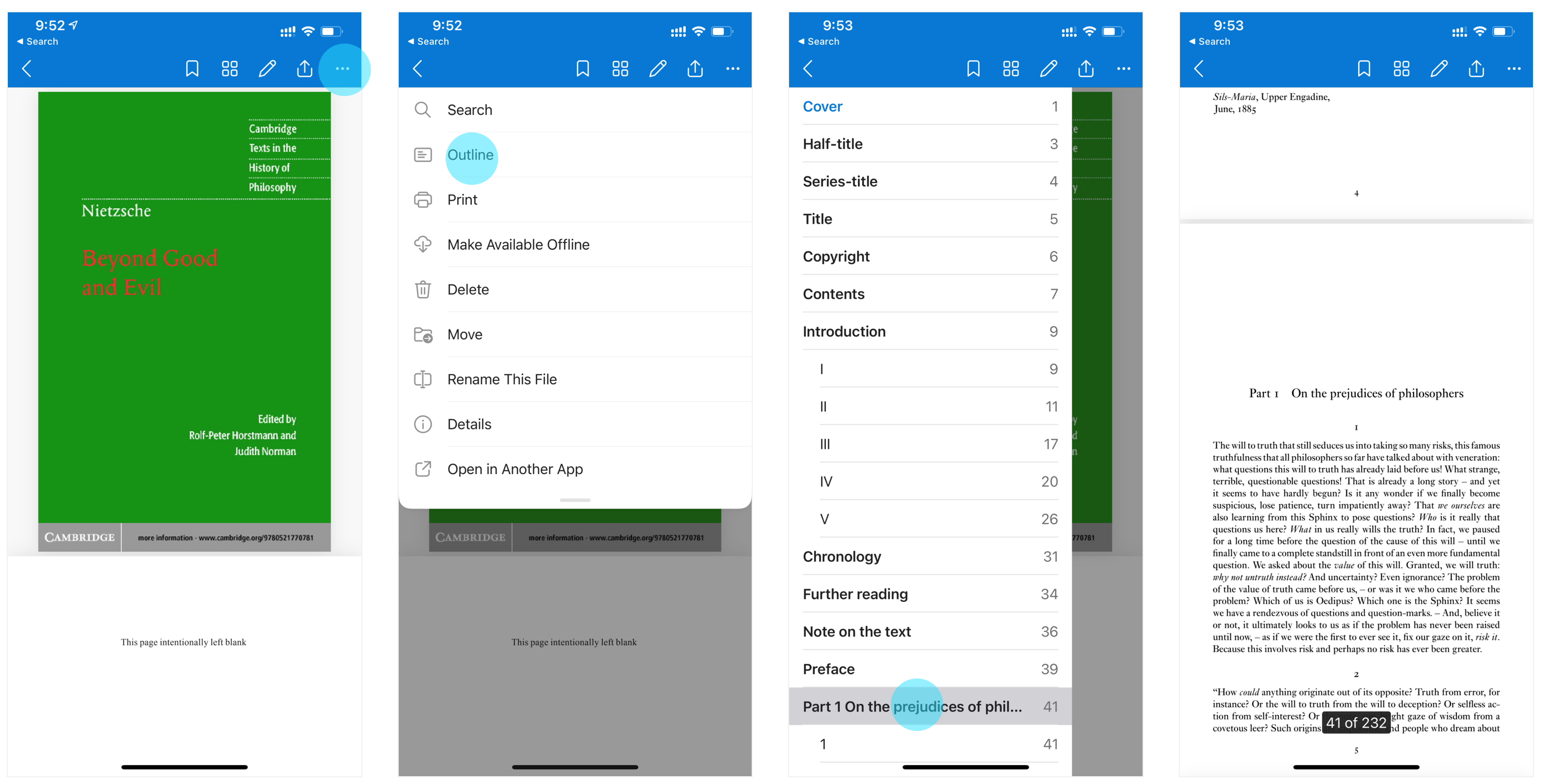 OneDrive iOS Outline for PDF viewing