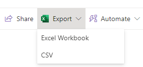 Lists dropdown with csv