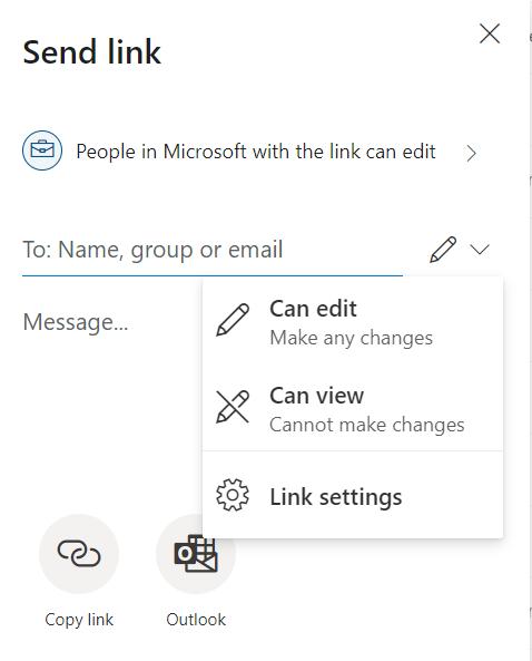 Link settings in Send link dropdown