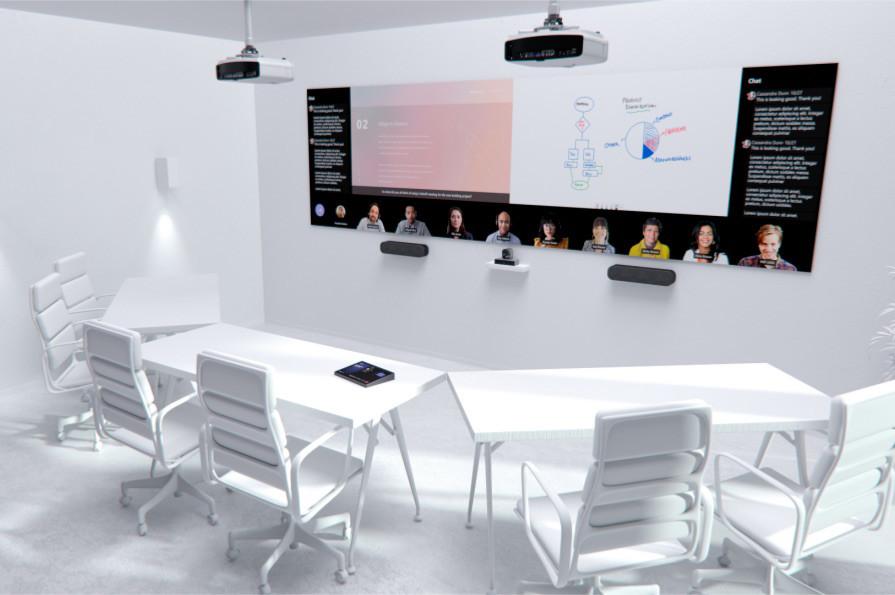 6 kişilik bir toplantı odası ve bir Teams görüşmesi, bir sunum ve kullanılan Beyaz Tahta işlevini gösteren büyük bir ekran.