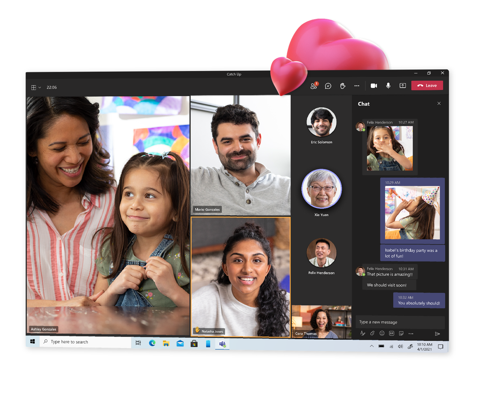 A video call in Teams with chat open.