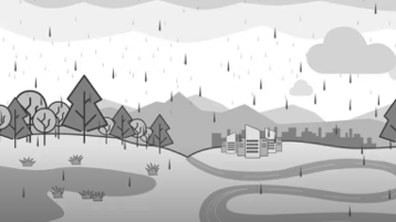 An illustration of a rainstorm coming down on a forest and a group of buildings.
