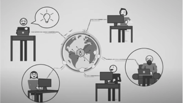 An illustration of 5 workers in different environments and links to where on the globe they are.