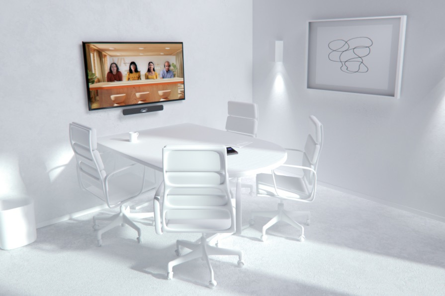A meeting room with four seats and a screen displaying a Teams call in Together mode.