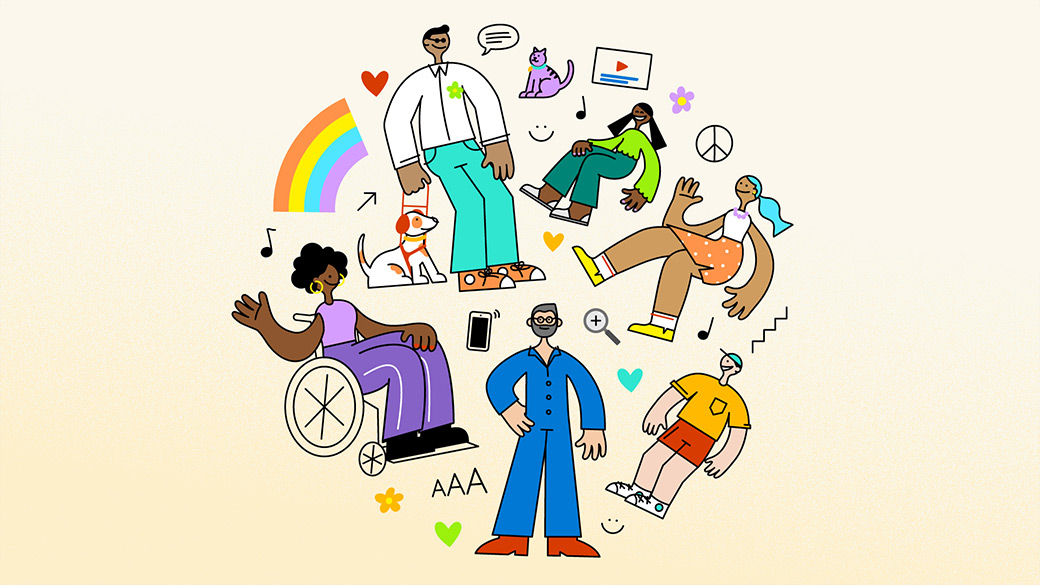 Illustration of people of various ethnicities and abilities in a circle with icons of accessibility and inclusivity