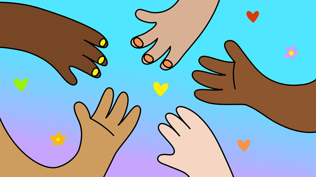 Illustration of diverse hands in a circle surrounded by flowers and hearts
