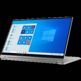 A Lenovo Yoga 9 i 8 2 B G 0 0 0 C U S 14 2-in-1 laptop facing left in tabletop mode.