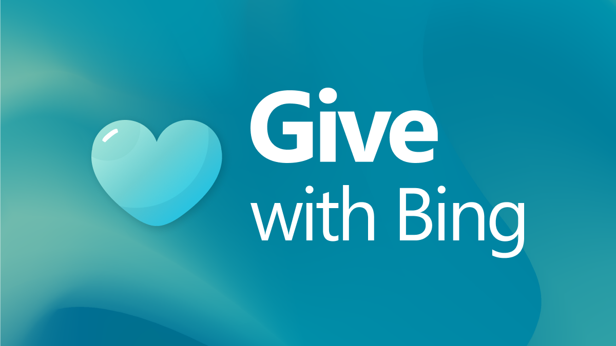 Illustration with heart and text to Give with Bing