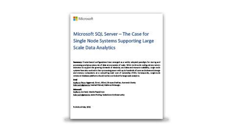 El informe técnico titulado El caso de los sistemas de nodo único que admiten análisis de datos a gran escala