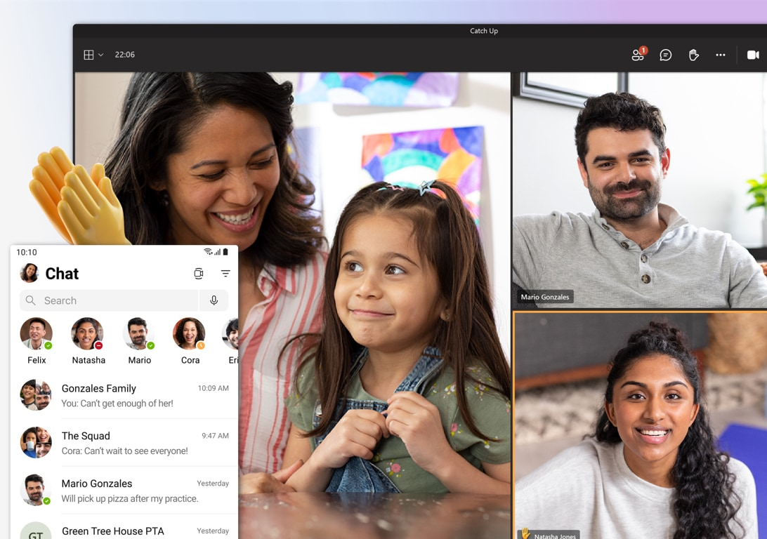 A family video call on Teams and the chat screen in Teams showing many conversations.