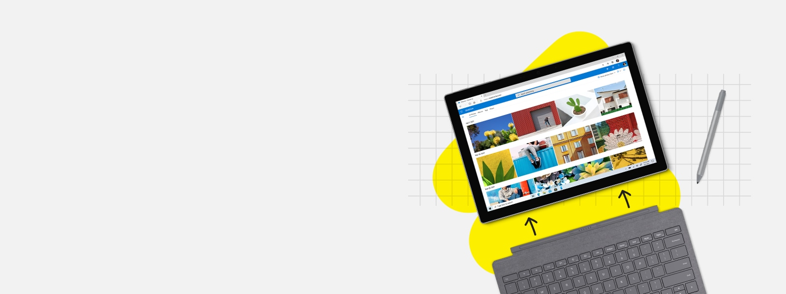 Surface Pro 7 mit Type Cover und Surface Pen in Platin