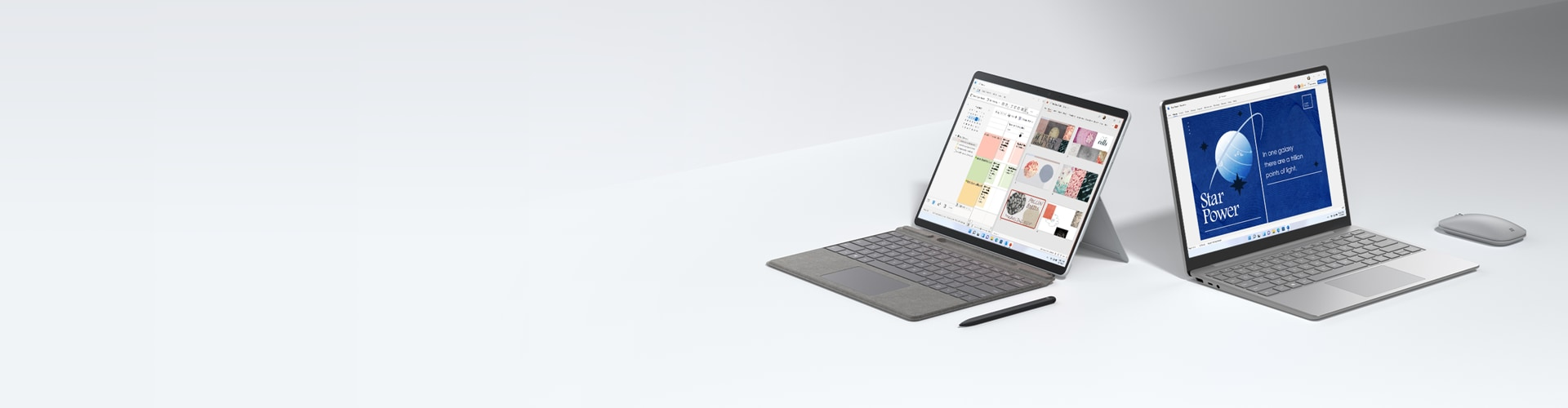 A Surface tablet and Surface laptop shown open and facing different directions beside Surface accessories.