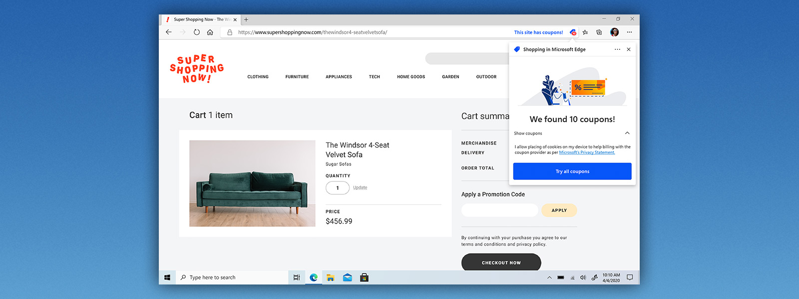 Microsoft Edge browser window showing shopping website with coupon feature