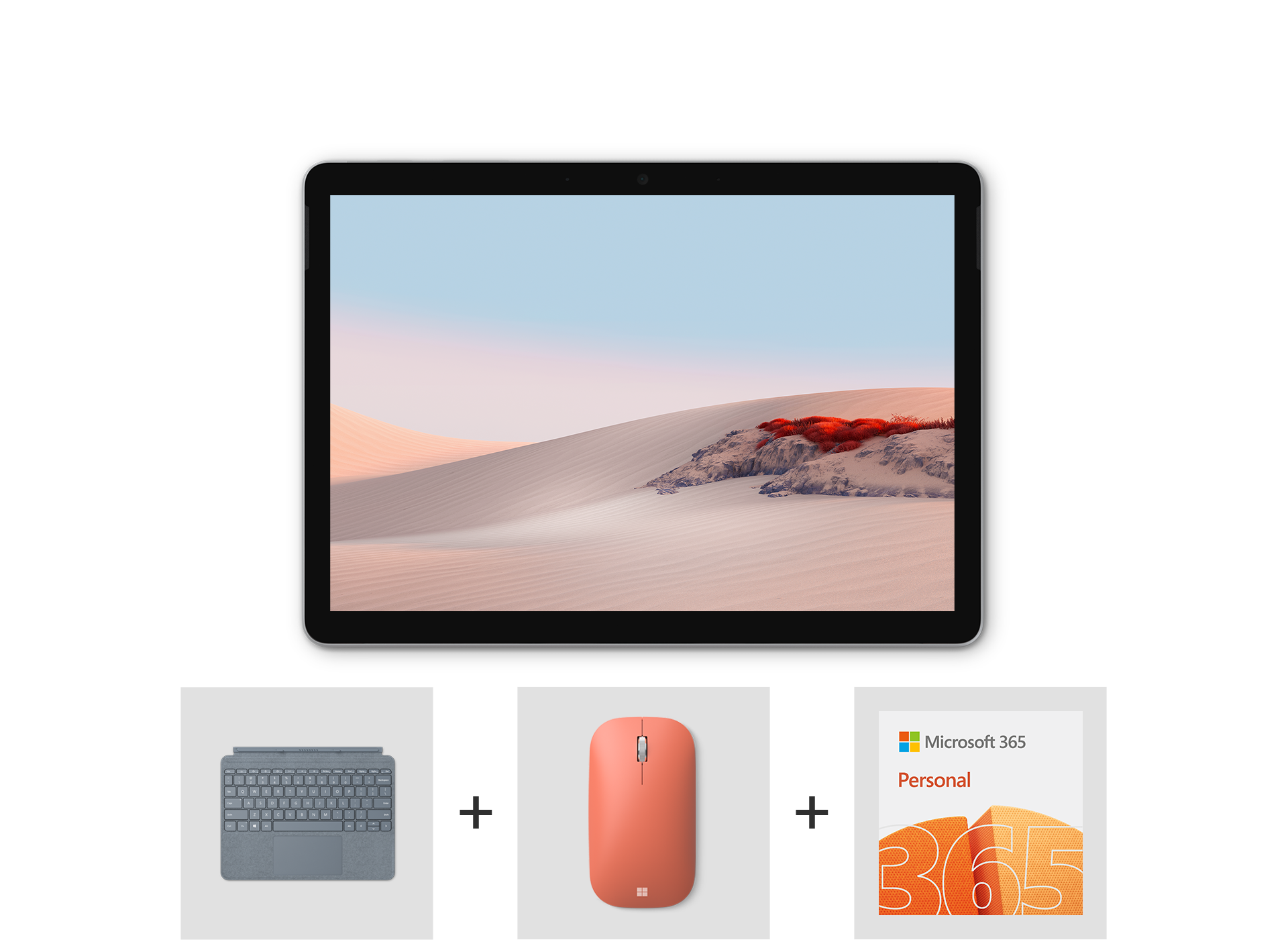 Surface Go 2 Essentials Bundle including Surface Go Signature Type Cover, Microsoft Modern Mobile Mouse, and Microsoft 365