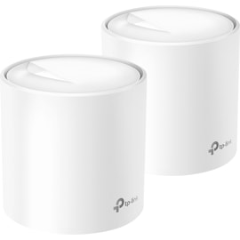 Left front view of two TP-Link AX1800 Whole Home Mesh Wi-Fi 6 System.