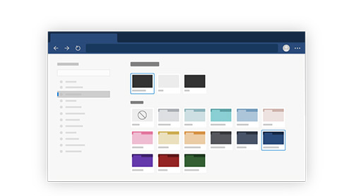 A Microsoft Edge color themes window illustration