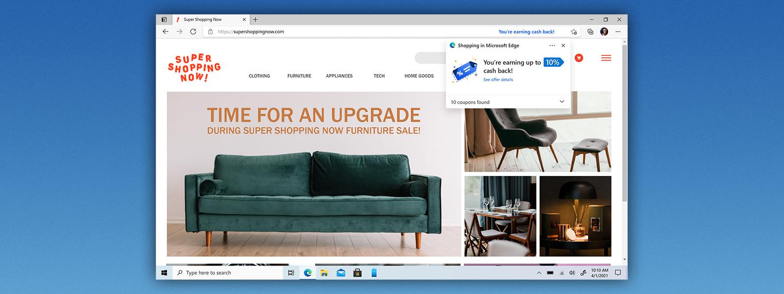 Microsoft Edge browser window showing shopping website with Bing rebates