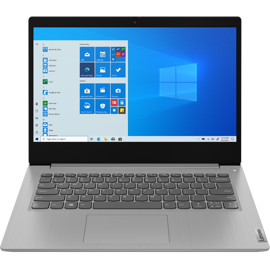 Front view of the Lenovo Ideapad Slim 3 14-inch-in Platinum Grey.
