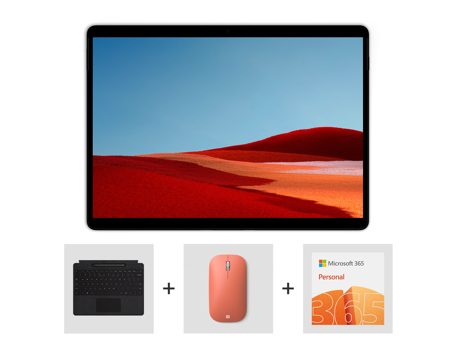 Surface Pro X Essentials Bundle including Surface Pro X Signature Keyboard with Slim Pen Bundle, Microsoft Modern Mobile Mouse, and Microsoft 365