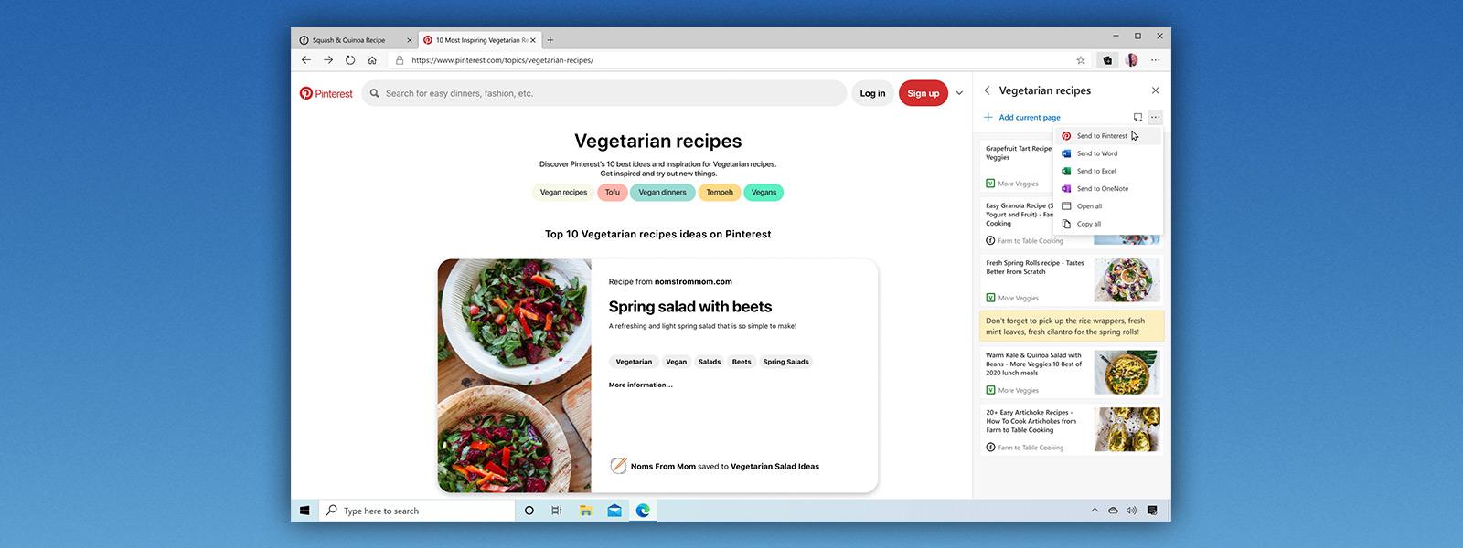 Microsoft Edge browser with tab displaying webpage of vegetarian recipes
