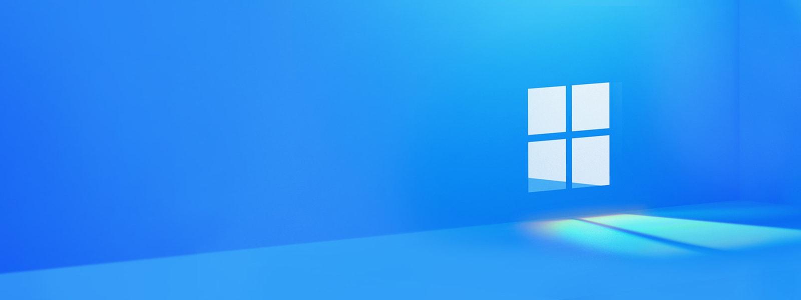 Microsoft Windows logo set inside a wall with light shining through