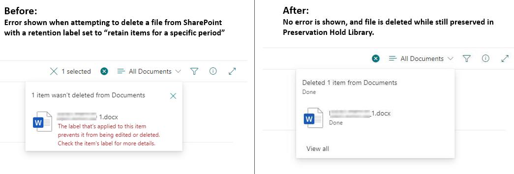SharePoint file deletion behavior update
