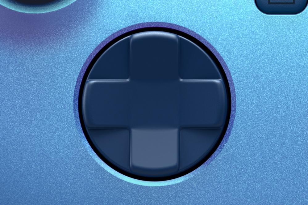 Close-up van de gloednieuwe D-pad van de Xbox draadloze controller
