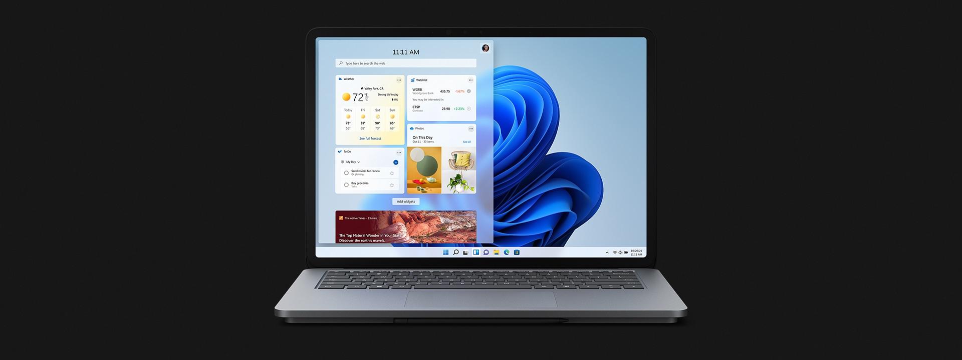 Surface Laptop Studio in laptop mode showcasing Windows 11.