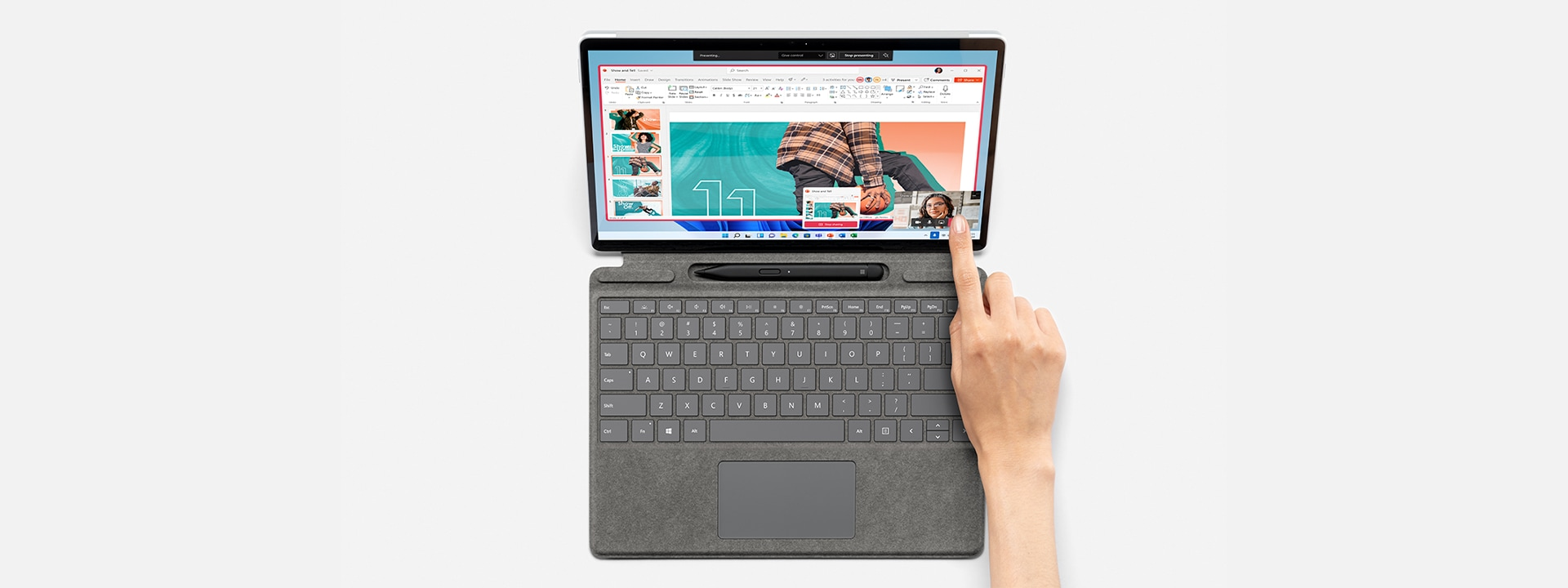 Surface Pro 8 shown with Pro Signature Keyboard and Slim Pen 2.