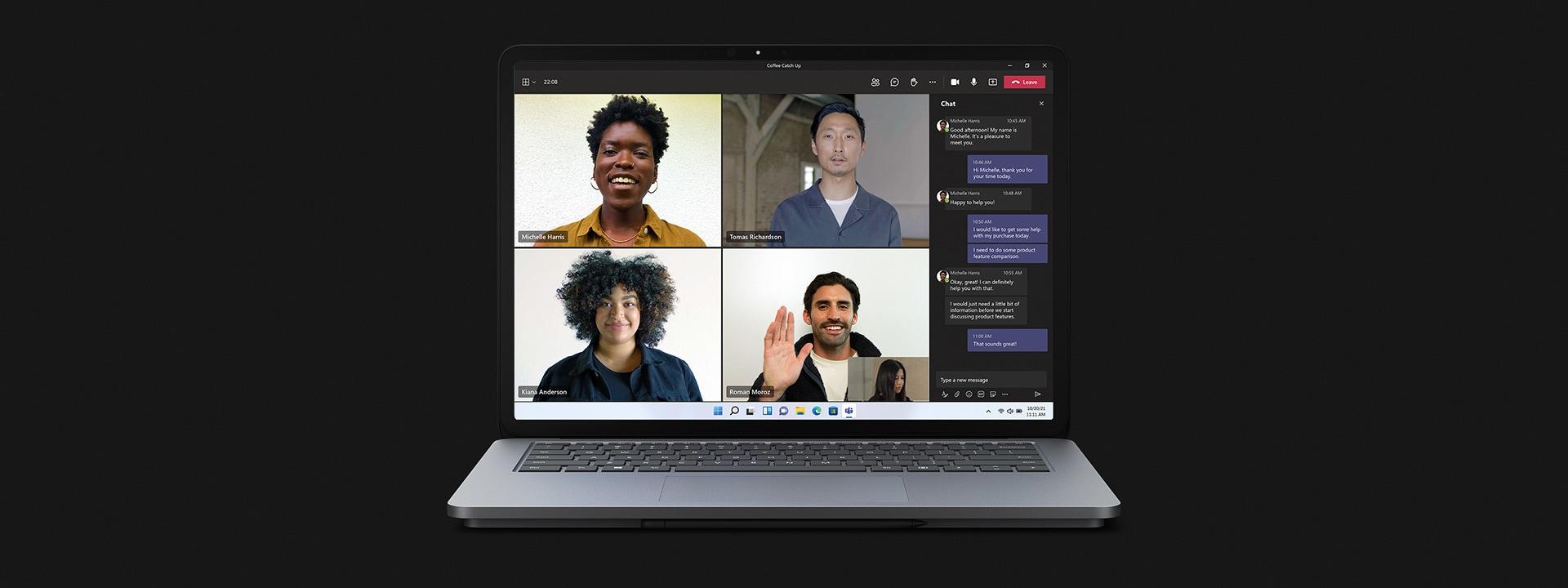 Surface Laptop Studio in laptop mode using Teams.
