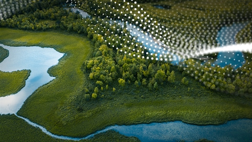 An overhead view of forested land with a river running through it.