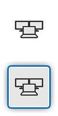 Icon showing a laptop connected to two external monitors