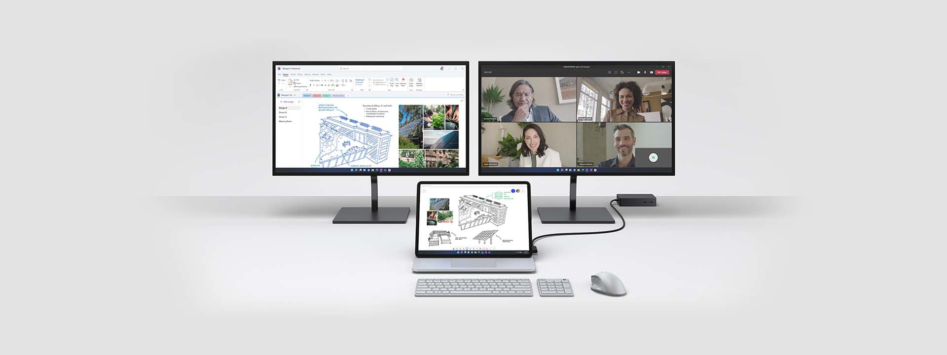 Surface Laptop Studio is shown connected to two external monitors to show ports