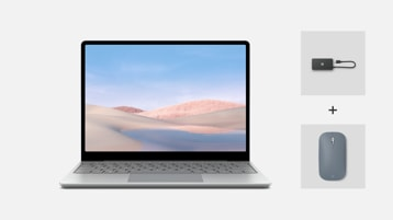 Surface Laptop Go for Business with USB-C Travel hub and Surface mobile mouse