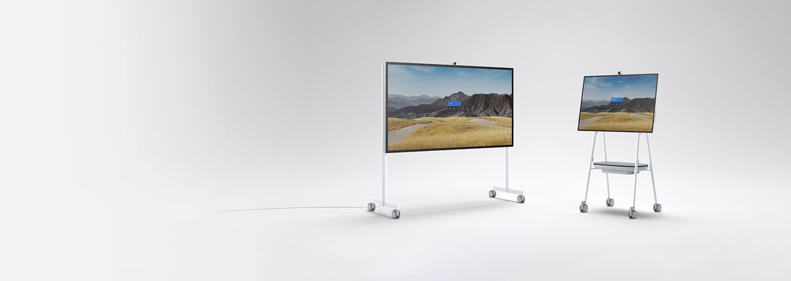 Hub 2S 85-inch and 50-inch sizes side-by-side