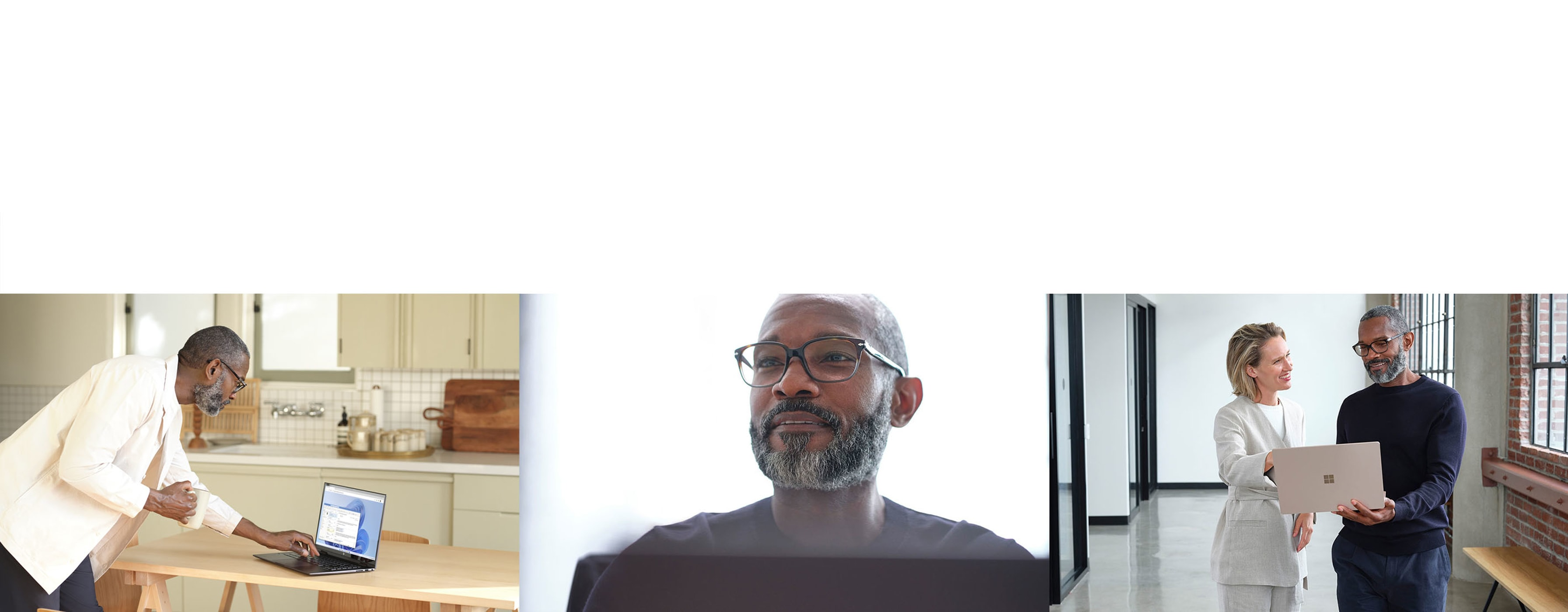 A view of a person using a laptop in their kitchen, a view of them smiling and a view of them showing a coworker something on a laptop.