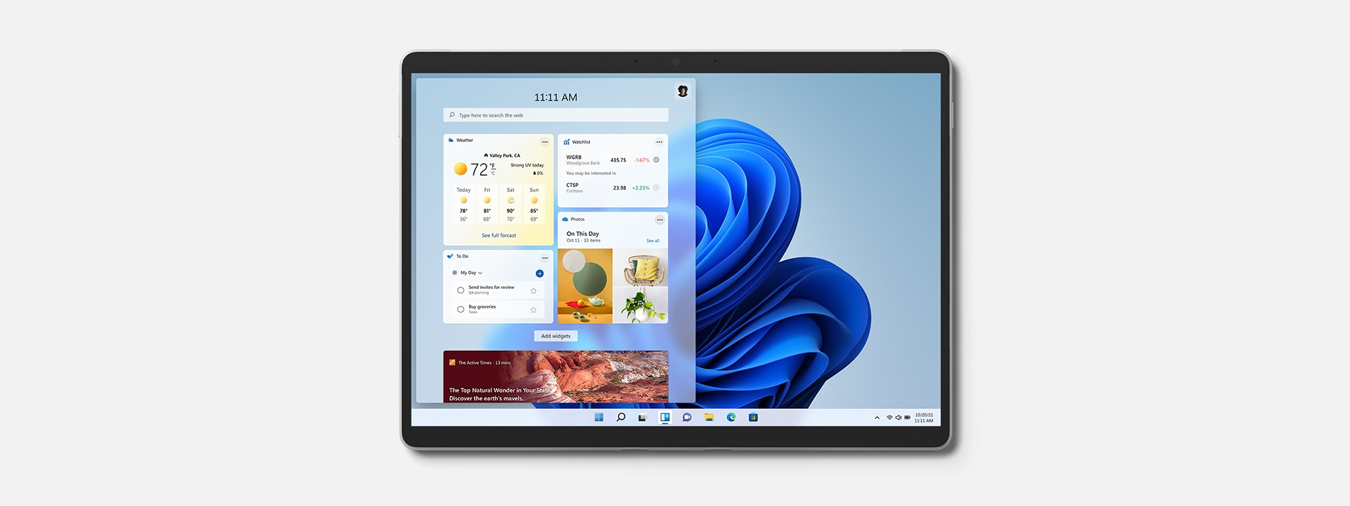 Surface Pro 8 showing featured Windows 11 widgets.