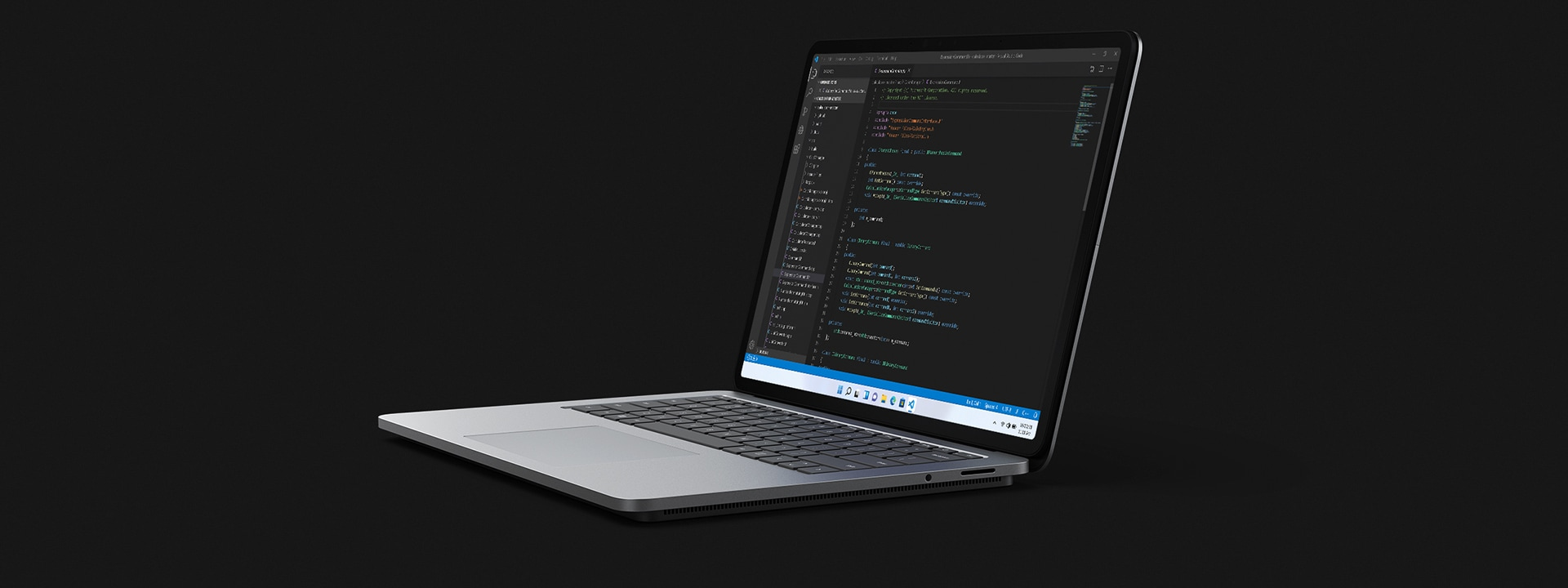 Surface Laptop Studio in laptop mode being used to code.