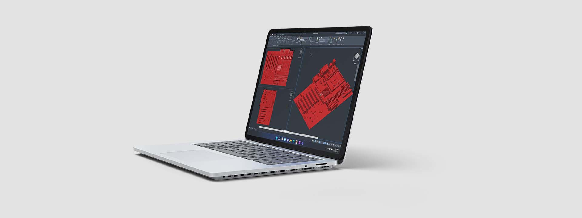 Render of Surface Laptop Studio with Revit application on screen