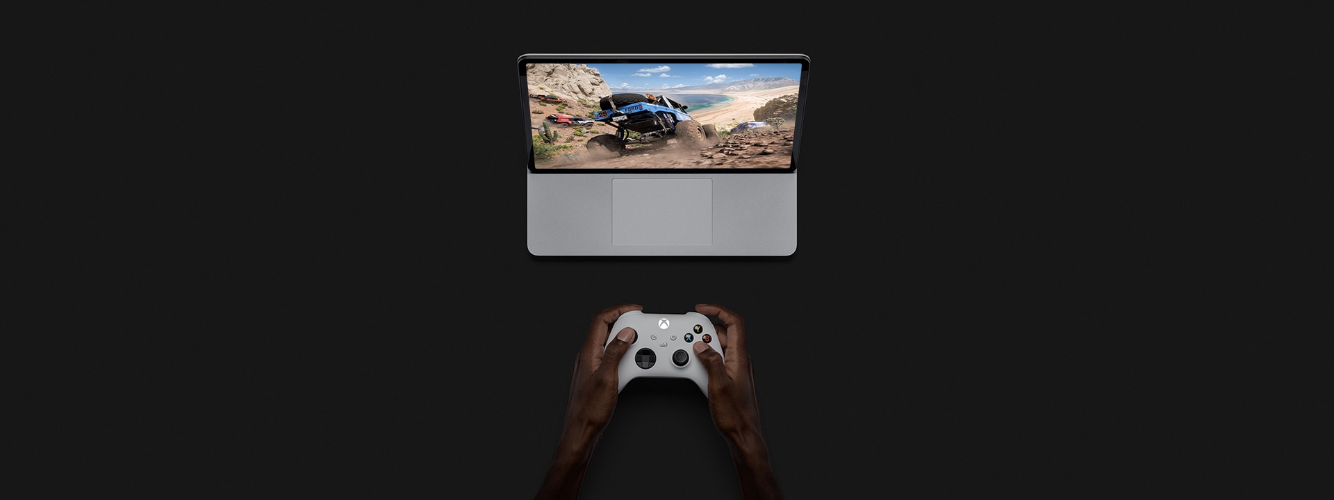 Surface Laptop Studio in stage mode being used to game.