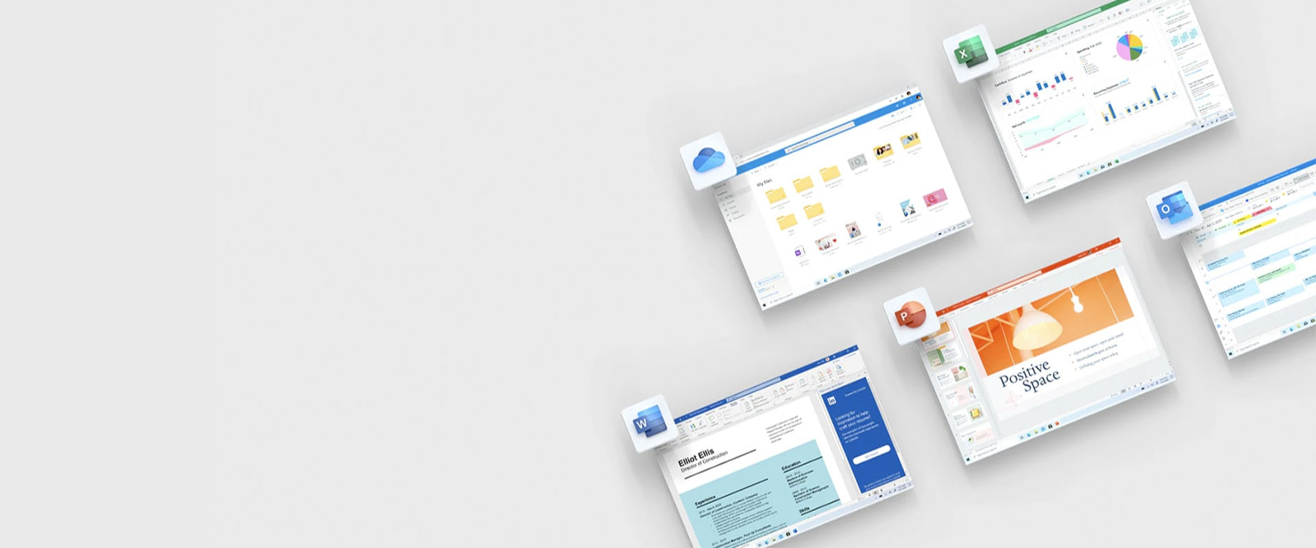 Five tiles showing OneDrive, Excel, Word, PowerPoint and Outlook.