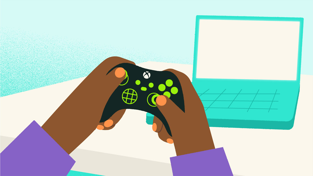 Illustration of hands holding a game controller and laptop on a table