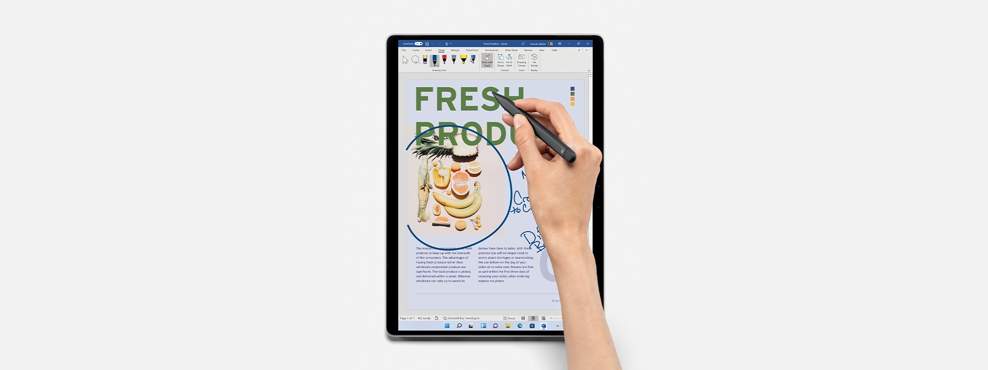 Surface Pro 8 being featuring Microsoft Word.