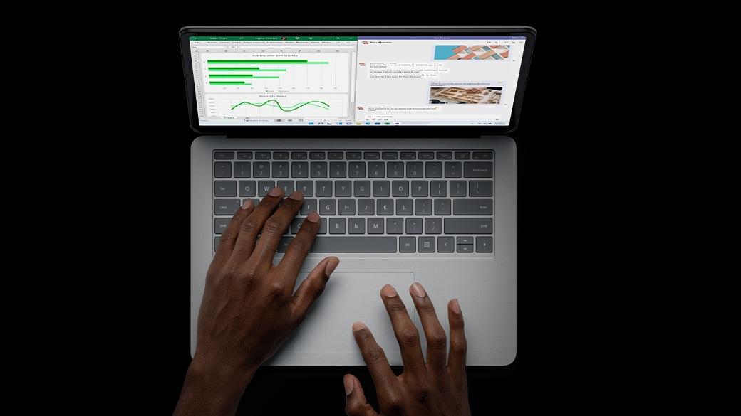 A top down view of the keyboard on Surface Laptop Studio.