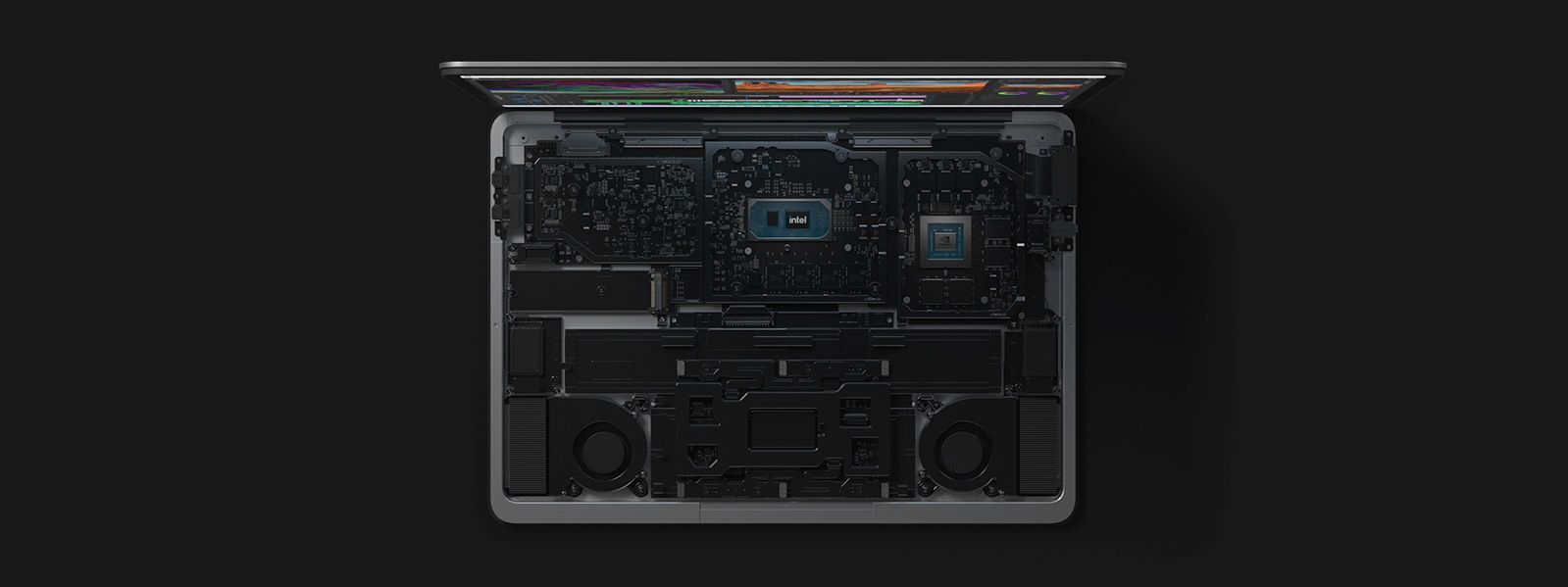 A top view of Surface Laptop Studio with keyboard removed revealing the internal hardware.