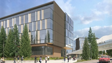 A rendering of a new building coming to Microsoft's Redmond campus.