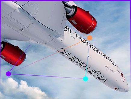 A Virgin Atlantic plane in flight.