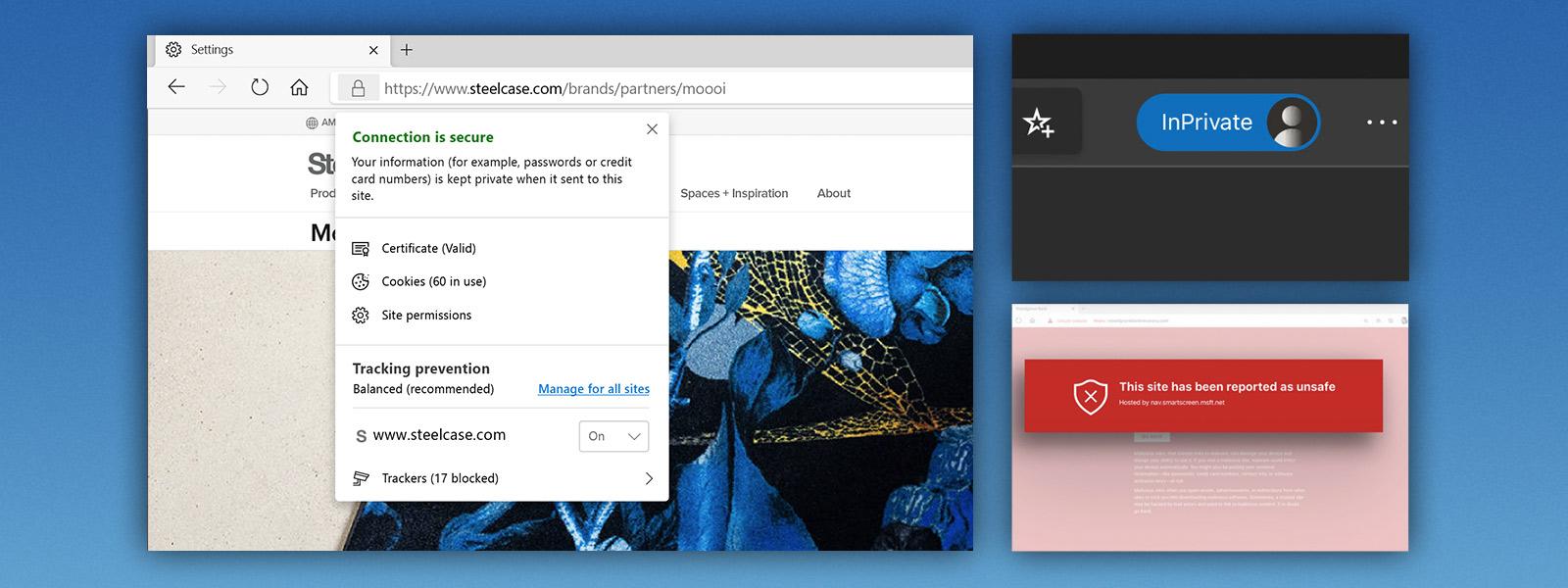 Microsoft Edge-Browserbildschirm, auf dem Datenschutz- und Sicherheitsfunktionen angezeigt werden