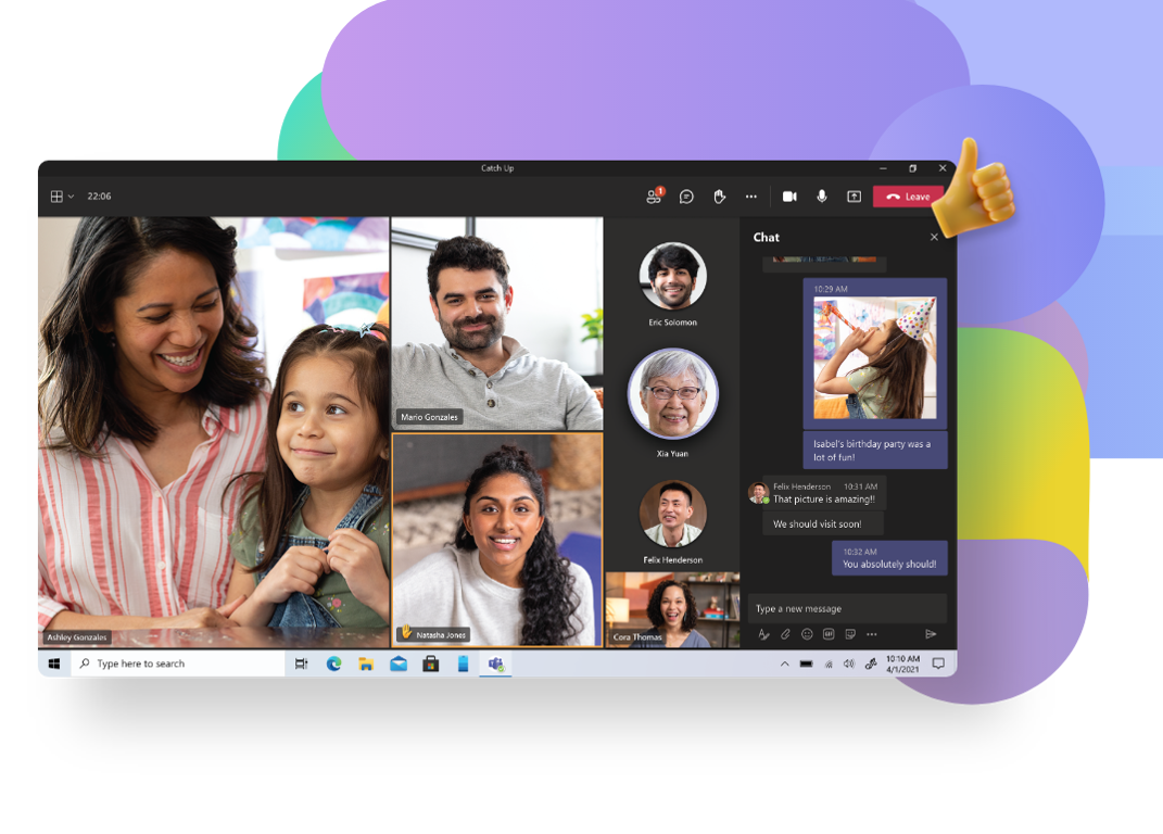 A family connecting over a Teams video call and sharing photos in the chat.