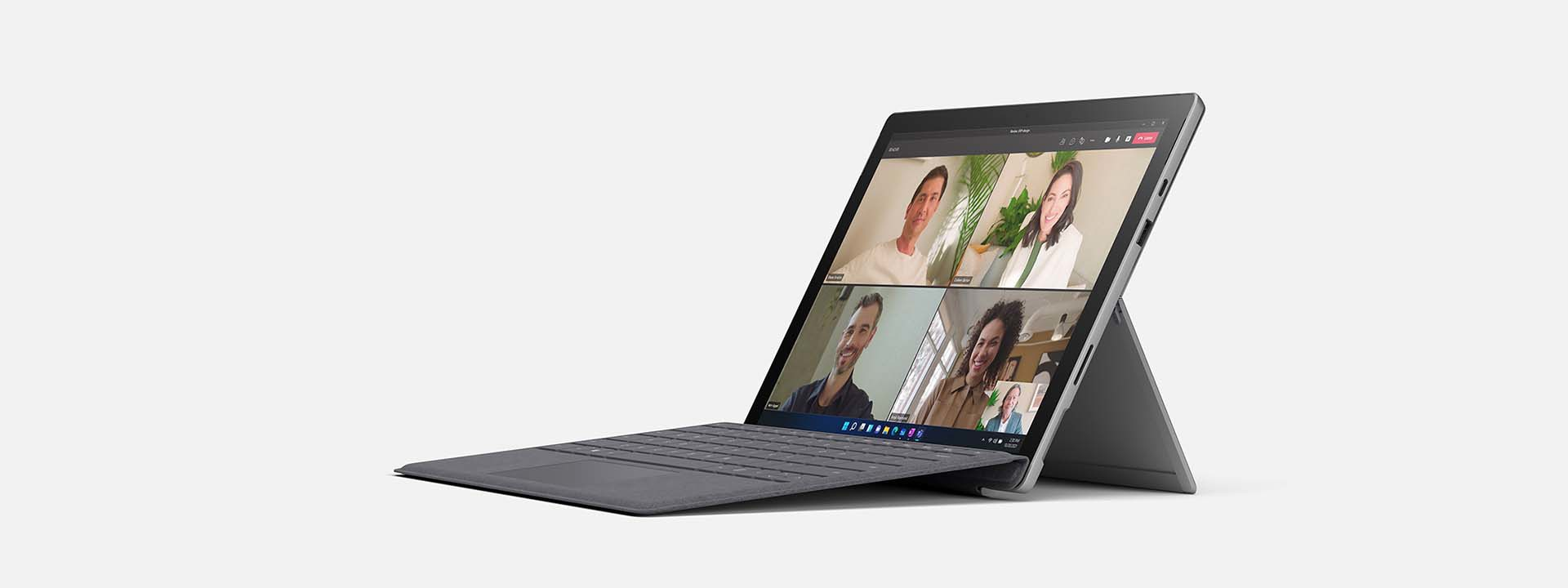 Side view of the Surface Pro 7+ with the Surface Pro X Signature Keyboard